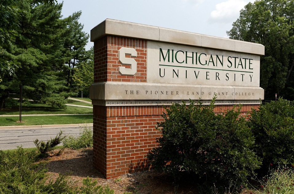 An entrance to Michigan State University