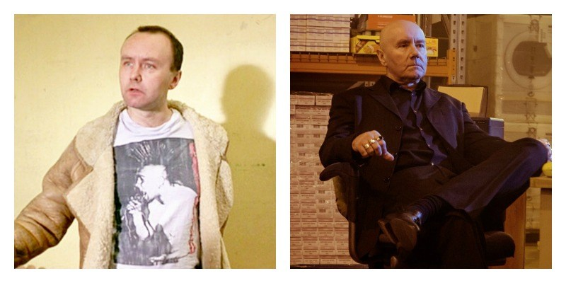 Irvine Welsh as Mikey in Trainspotting and Trainspotting 2 side by side