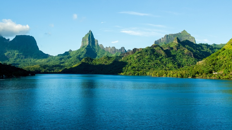 mountain range from an inlet off the coast of Moorea