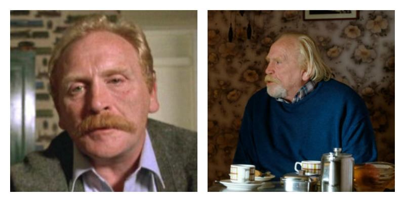 James Cosmo as Mr. Renton in Trainspotting and Trainspotting 2 side by side