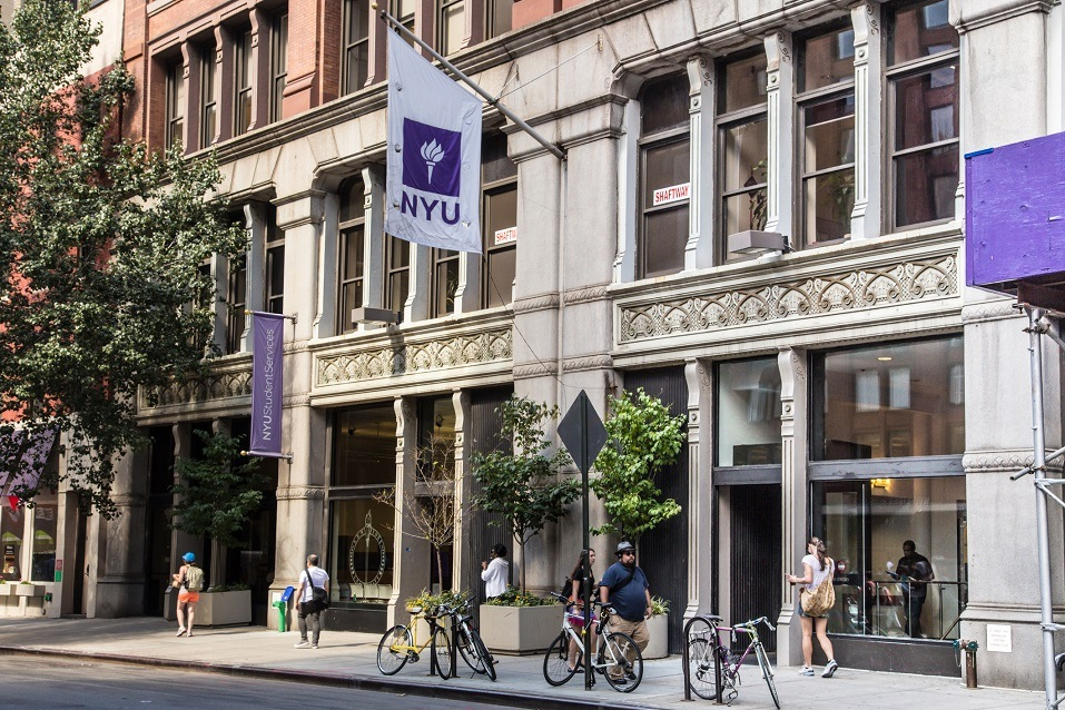 Street view of New York University NYU in Greenwich Village Manhattan