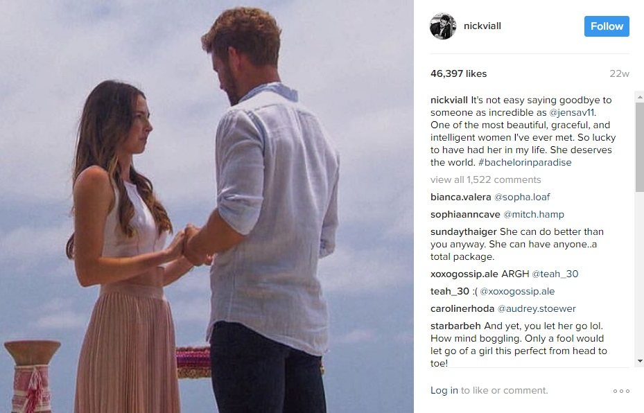 Nick Viall says goodbye to Jen Saviano on Bachelor in Paradise