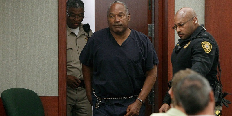 O.J. Simpson arrives at an evidentiary hearing in Clark County District Court
