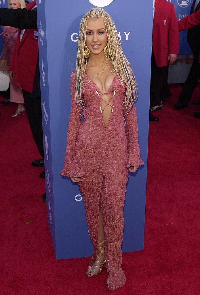Pop diva Christina Aguilera arrives at the 43rd Annual Grammy Awards