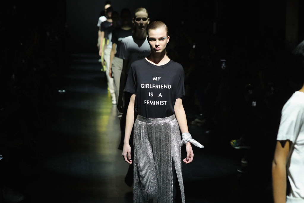 A model walks the runway for the Prabal Gurung collection