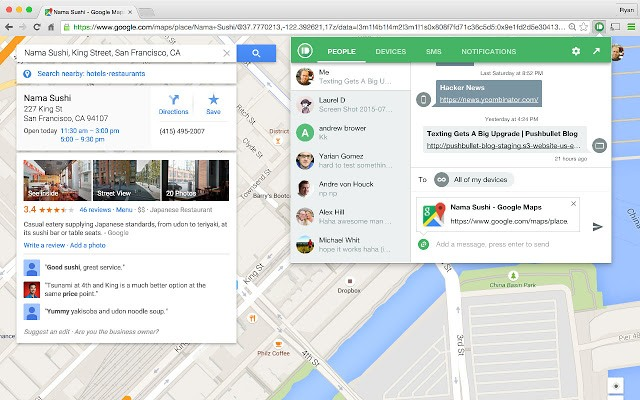 The Pushbullet Chrome extension