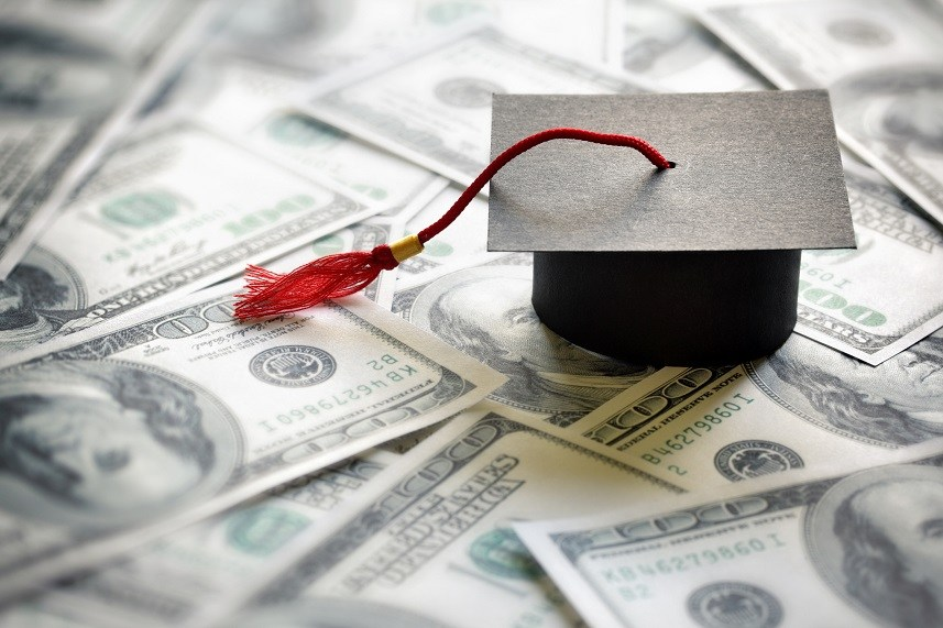 Graduation cap on $100 bills