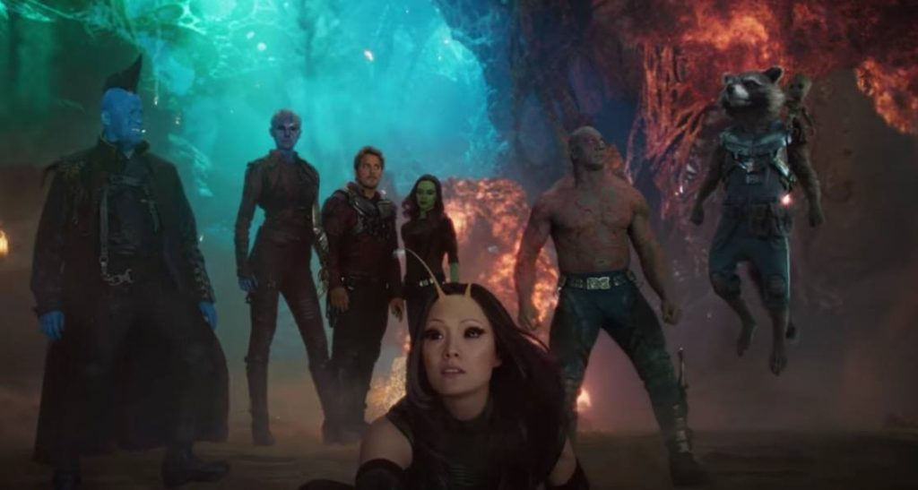 The cast of Guardians of the Galaxy Vol. 2 stand together in a scene from the sequel