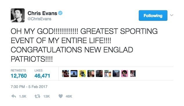 Chris Evans Tweets after the Patriots win in Super Bowl LI