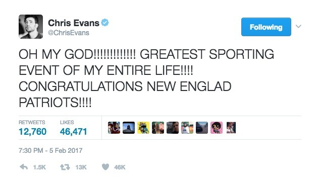 Chris Evans Tweets after the Patriots win in Super Bowl LI