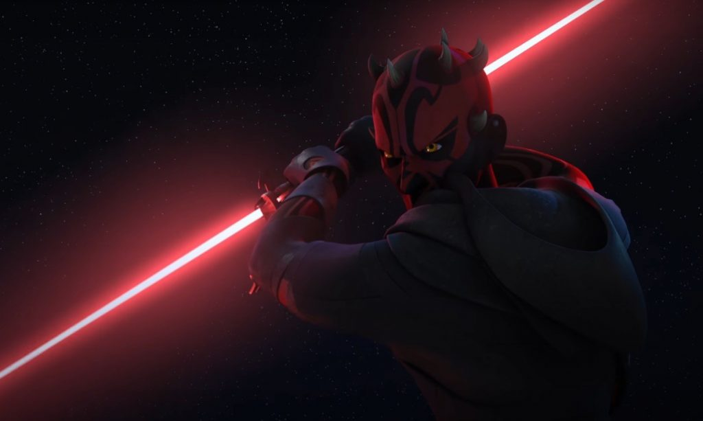 Darth Maul wields his lightsaber on Star Wars Rebels