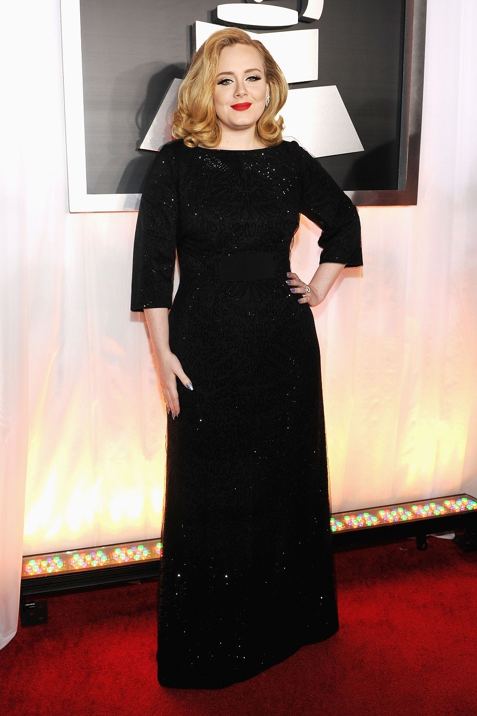 Singer Adele arrives at the 54th Annual GRAMMY Awards held at Staples Center