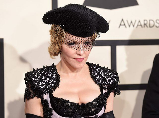 Singer Madonna attends The 57th Annual GRAMMY Awards.