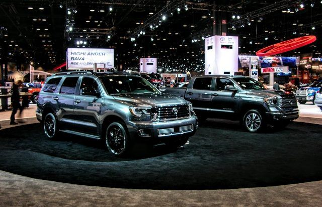 The Toyota Sequoia and the Tundra TRD Sport sit on display at the 2017 Chicago Auto Show