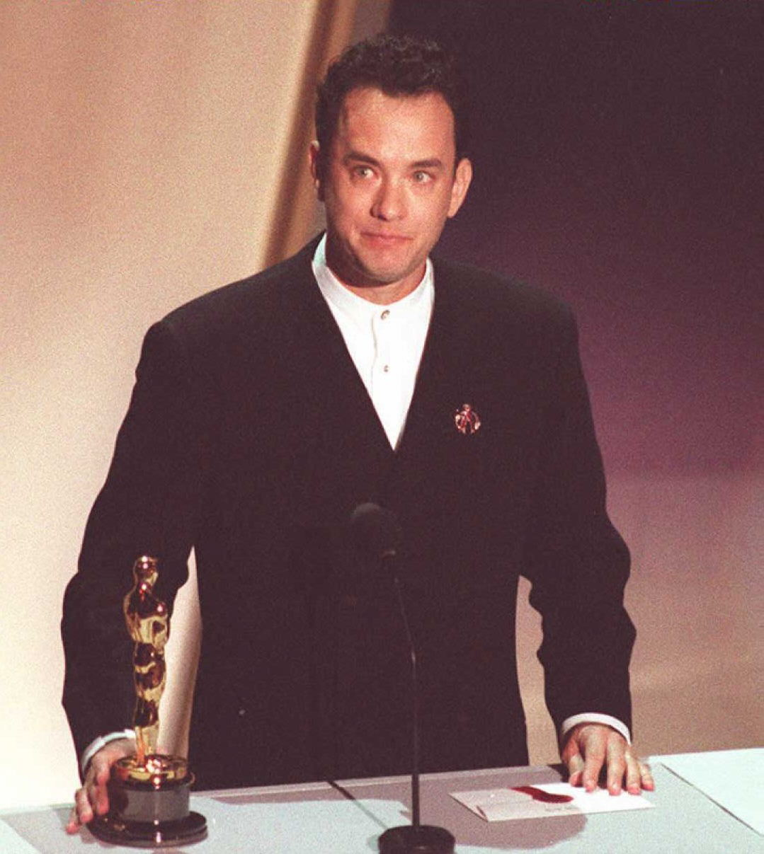 US actor Tom Hanks holds his Oscar 27 March as he speaks to the audience at the 67th annual Academy Awards