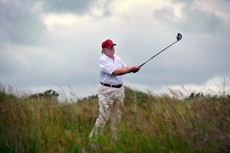 trump golfing at his scottish resort