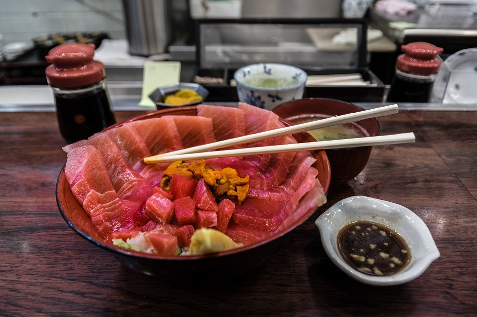 A bowl of raw tuna is served at a Japanese restaurant