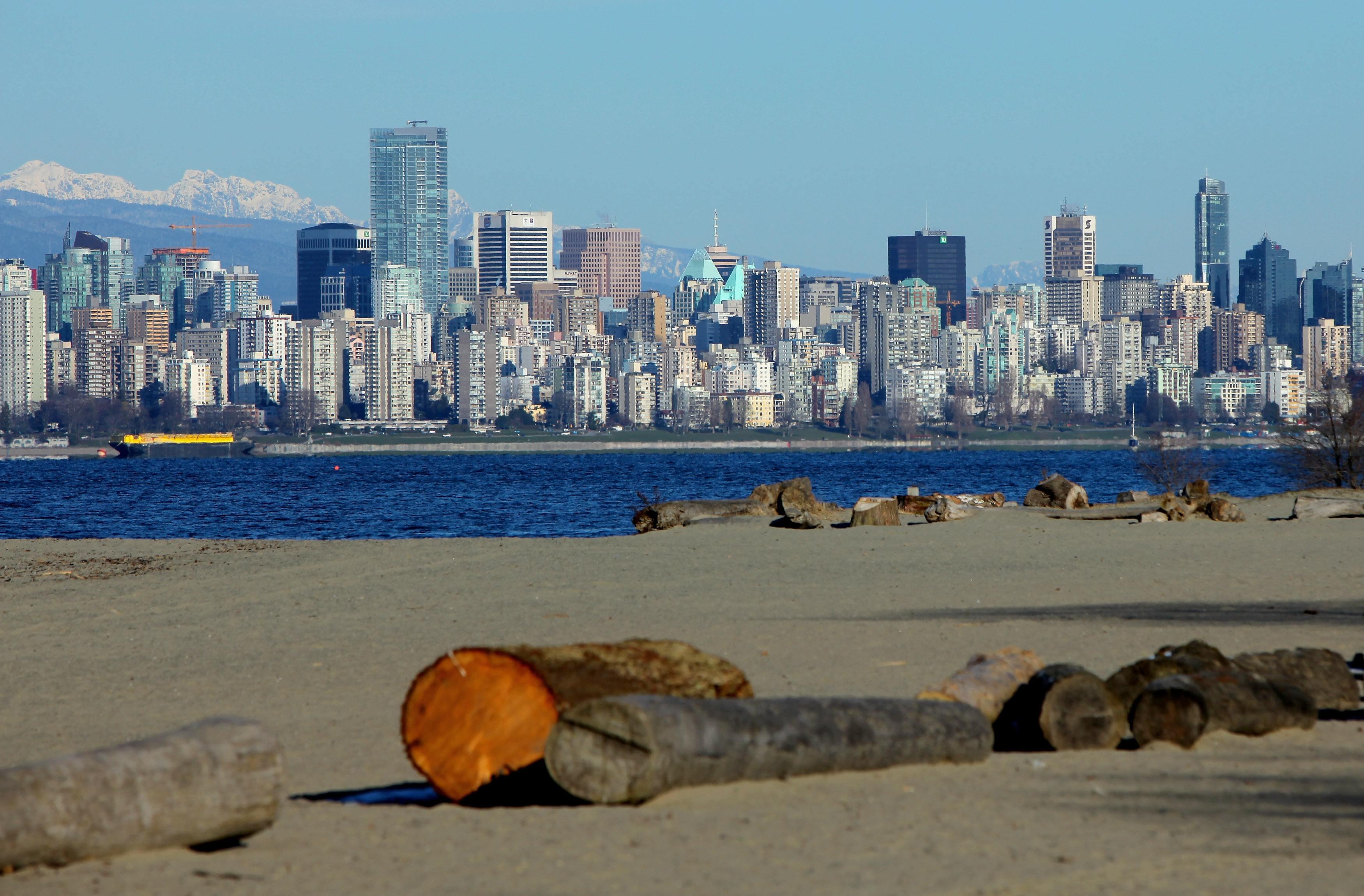 The Vancouver skyline across English Bay