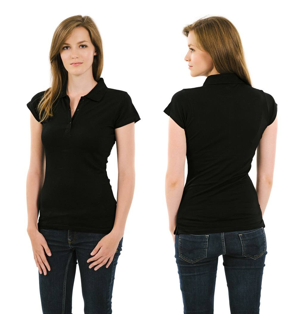 young adult female posing with a blank black polo shirt