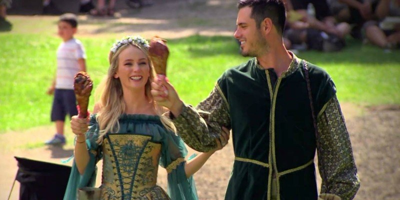 Ben and Lauren are holding up ice cream cones and dressed in mid evil costumes on Ben & Lauren Happily Ever After?