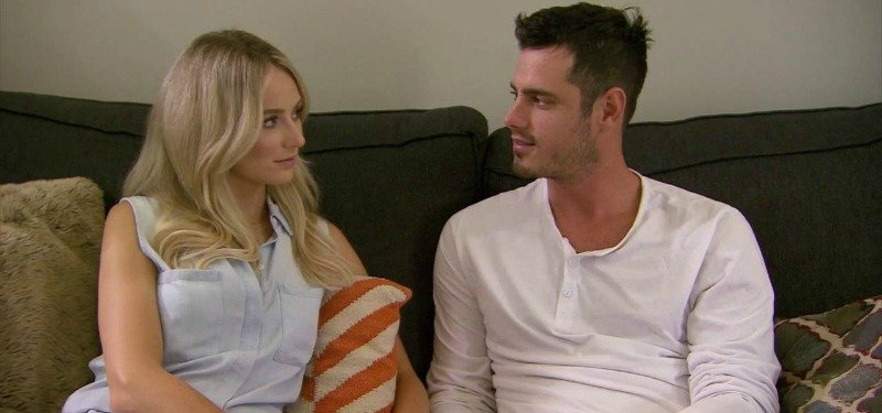 Ben and Lauren are sitting on a couch looking at each other on Ben & Lauren Happily Ever After?