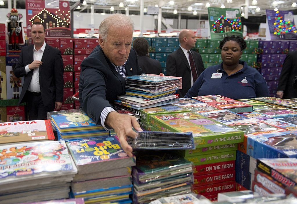 Joe Biden shopping for books at Costco