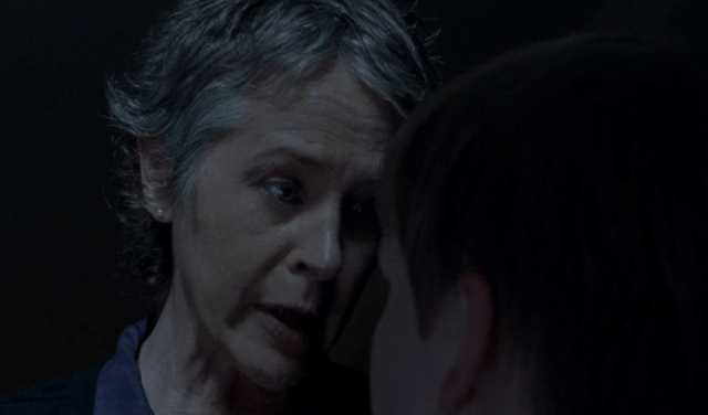 Carol talks to Sam in a scene from 'The Walking Dead' episode 'Forget'