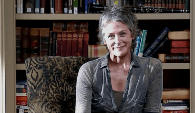 Carol stares into Deanna's camera in a scene from 'The Walking Dead' episode 'Remember'
