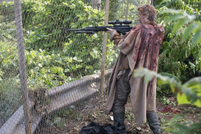Carol holds a sniper rifle in a scene from 'The Walking Dead' episode 'No Sanctuary'