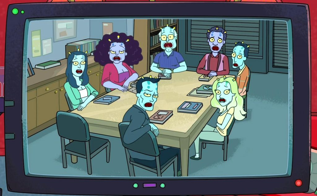 the characters of Rick and Morty at a large table