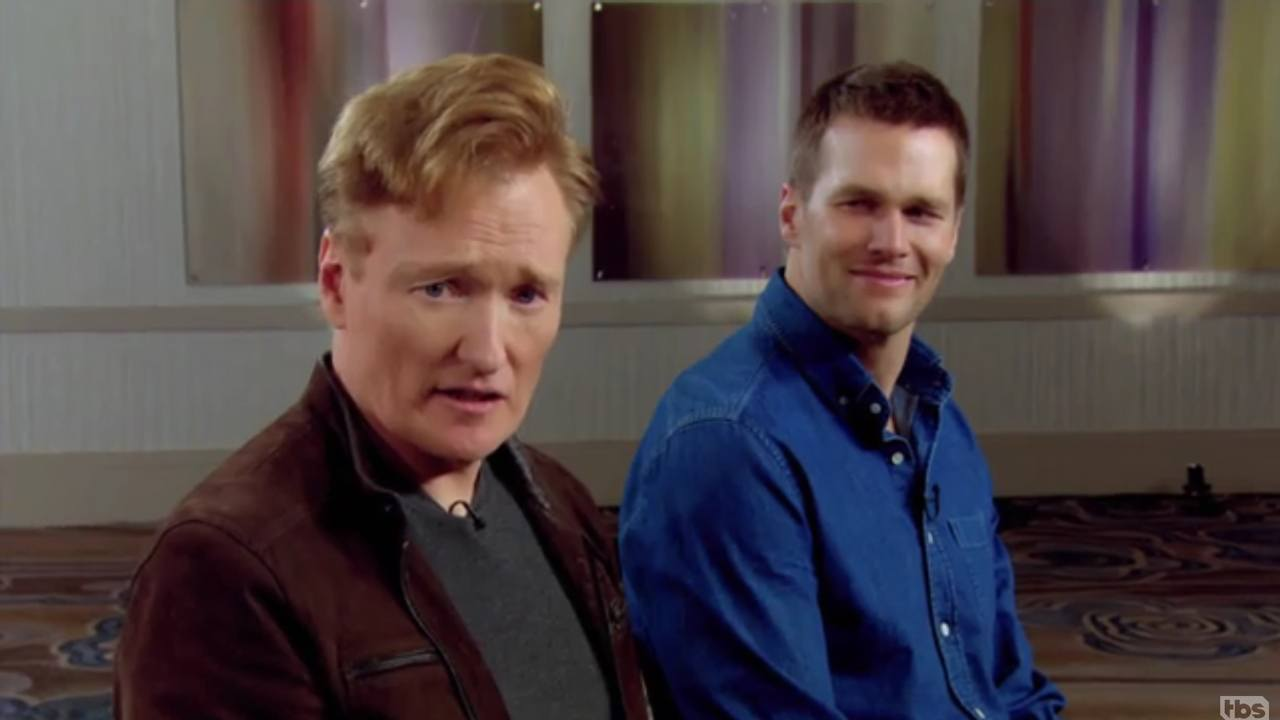 Conan plays video games with Tom Brady