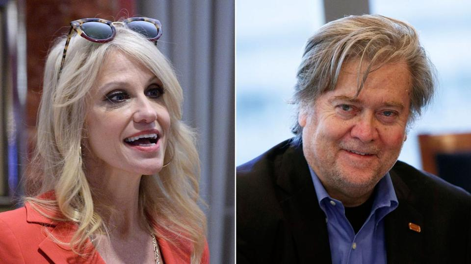 Kellyanne Conway and Steve Bannon both smile at the camera