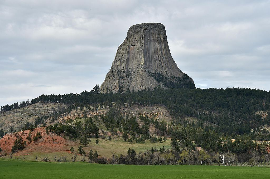 A view of Devils Tower National Monument in Wyoming