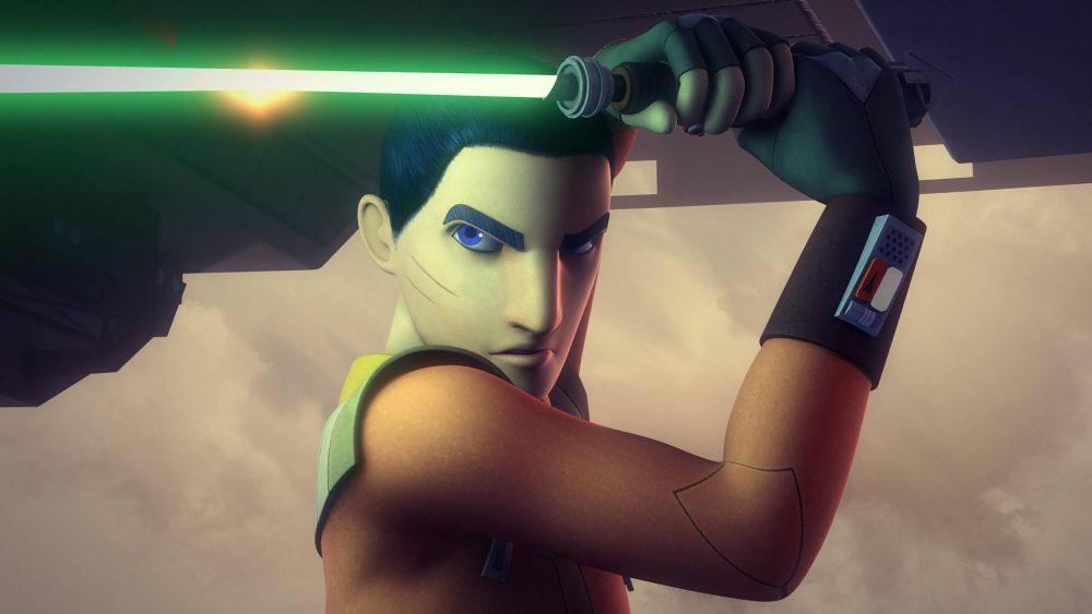Ezra Bridger holds a light saber on Star Wars: Rebels