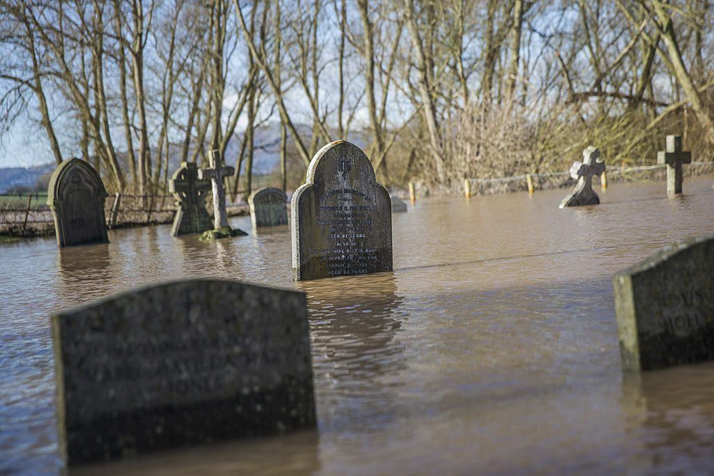 A flooded cemetery