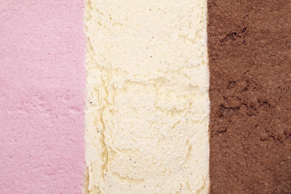 strawberry, vanilla and chocolate ice cream