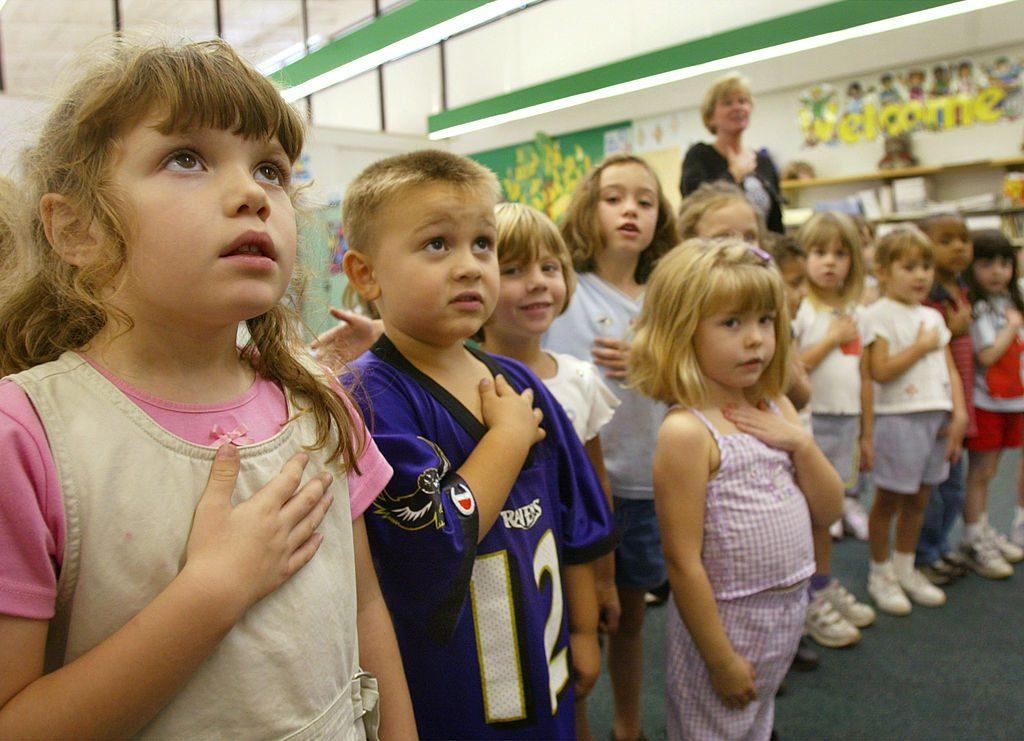 Students saying Pledge of Allegiance