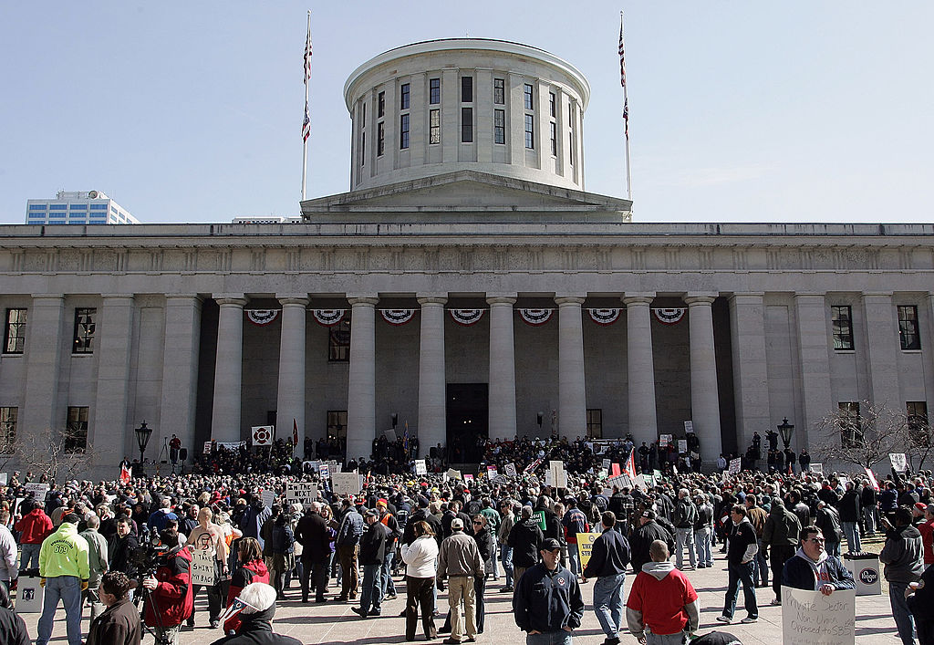 Crowds gather as Ohio Gov. John Kasich delivers the State of the State address at the Ohio Statehouse.
