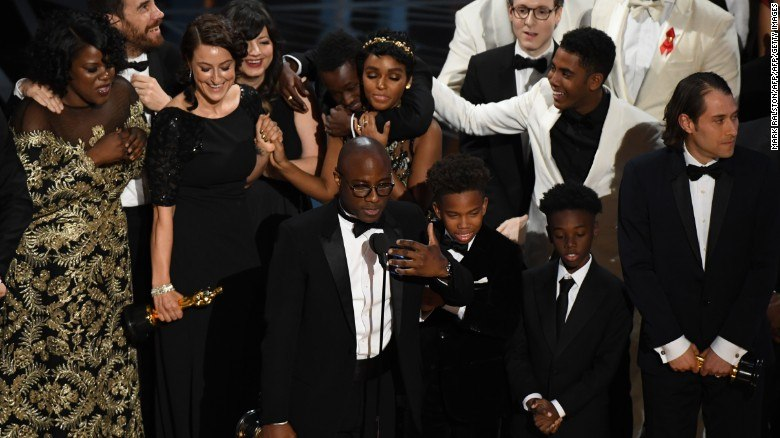 US director Barry Jenkins speaks after 'Moonlight' won the Best Film award at the 89th Oscars on February 26, 2017 in Hollywood, California.