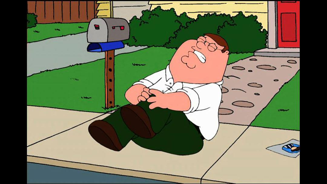 Peter Griffin holding his knee in pain
