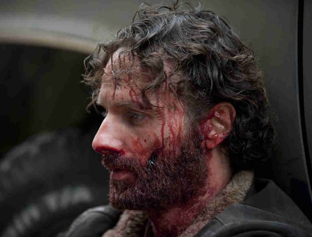 Rick, in the aftermath of his confrontation with the Claimers, in 'The Walking Dead' episode 'A'