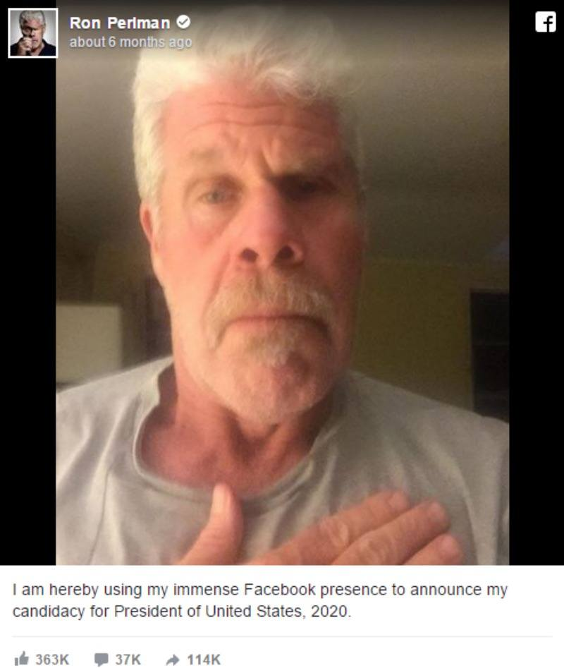 This is a selfie from Ron Perlman with his hand over his heart.