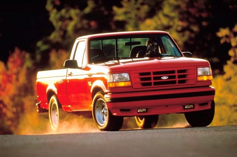 A red 1993 Ford F-150 SVT Lightning
