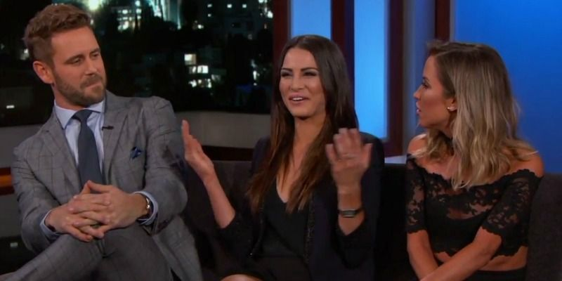 Nick Viall, Andi Dorfman, and Kaitlyn Bristowe all meet on Jimmy Kimmel Live!