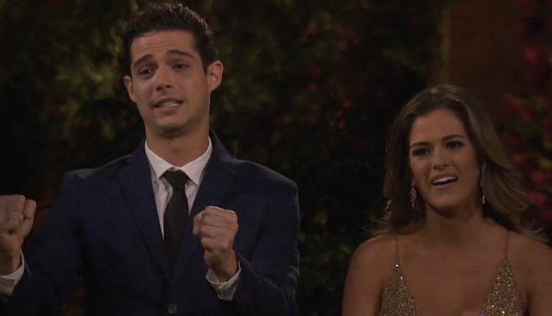 Wells Adam is standing next to JoJo Fletcher on The Bachelorette.