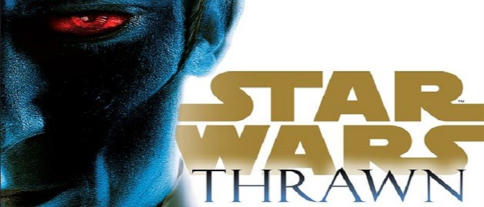 Cover art for the new Thrawn novel, showing a quarter of Thrawn's glaring face
