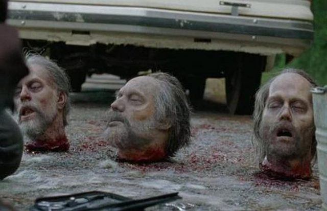 A row of severed heads in 'The Walking Dead'