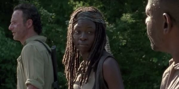 Rick, Michonne and Morgan in 'The Walking Dead' episode 'First Time Again'
