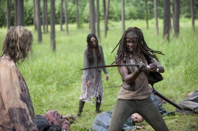 Michonne fighting zombies in 'The Walking Dead' episode 'After'