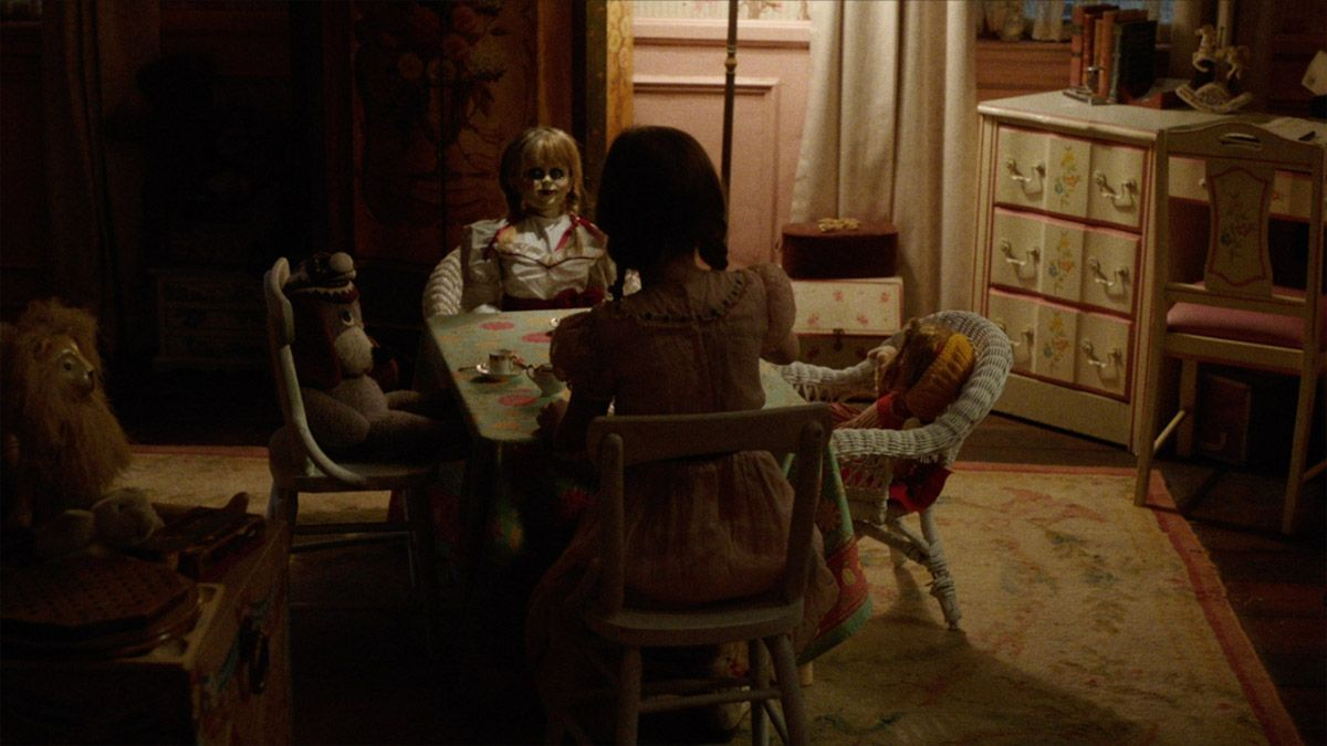 The possessed doll in a scene from Annabelle 2